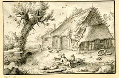 Landscape with thatched cottage, one of 68 drawings of birds and fish; a shepherd resting with his flock of sheep in the foreground, a tree beyond at l. c.1648-64 Pen and grey ink and grey wash