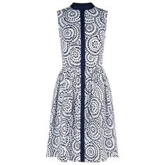 Oscar de la Renta Eyelet Print Button Down Dress (60.670 RUB) ❤ liked on Polyvore featuring dresses, button front dress, sleeveless button down dress, retro print dress, print dresses and pattern dress