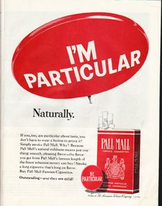 """1965 PALL MALL CIGARETTES vintage magazine advertisement """"I'm Particular"""" ~ I'm Particular - Naturally.  ~"""