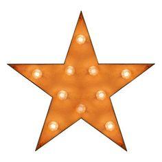 """Lampe décorative avec ampoules """"Etoile"""" orange en bois   E14, 25W   63 x 60 x 14 cm"""