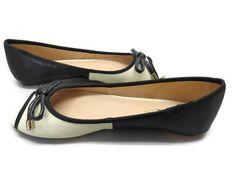 Mixx Shuz Ballet Flat Jenna  Peep Toe Flat Beige Black Leather Bow NIB Sz 5 1/ 2 #MixxShuz #BalletFlats
