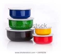 Colourful plastic containers isolated on a white background Food Storage Boxes, White Stock Image, Plastic Containers, Photo Editing, Stock Photos, Tableware, Color, Editing Photos, Dinnerware