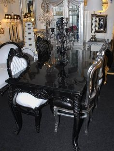 Amazing Set Of 4 Dining Room Chairs Baroque Gothic Black