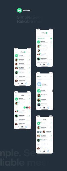 Whatsapp UI/UX and Branding Redesign Project Ui Design Mobile, Ios App Design, Android Design, User Interface Design, Mobile Ui, Web Design, Sticker App, App Design Inspiration, Website