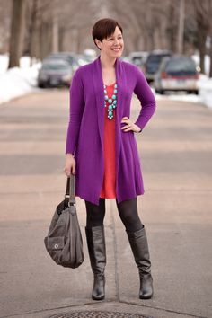 Have fun mixing colors! Already Pretty outfit featuring orchid purple boyfriend cardigan, coral dress, turquoise bubble necklace, gunmetal leather boots, Marc by Marc Jacobs Turnlock bag 50 Fashion, Winter Fashion, Girl Fashion, Fashion Outfits, Womens Fashion, Coral Cardigan, Coral Dress, Outfit Combinations, My Wardrobe