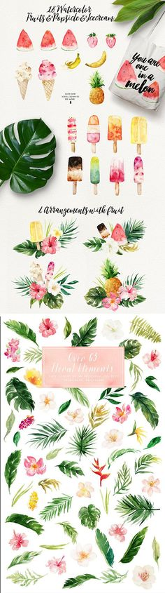 Aloha:) I am so happy to introduce my new product, Summer Design Set - Tropical, this is a fresh collection about Summer, featuring watercolor flowers, tropical leaves, flower wreaths, flower bouquets as well as some stuff about summer - Popsicle, tropical animal and plants, summer