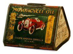 Vintage motorcycle oil tin, triangular, green, red car