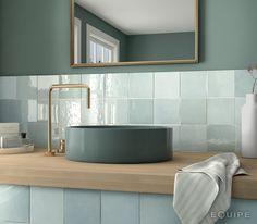 Equipe Artisan Aqua x cm - płytka ceramiczna ścienna 24458 Mosaic Bathroom, Bathroom Flooring, Small Bathroom, Aqua Bathroom, Bathroom Basin, Bathroom Fixtures, Traditional Bathroom, Contemporary Bathrooms, Bathroom Interior Design