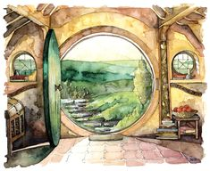 """paintingtheimpatient: """"Bag End Painting - Print from Original Watercolor Painting, """"In a Hole in the Ground"""", Lord of the Rings, The Hobbit, The Shire, Hobbiton, """""""