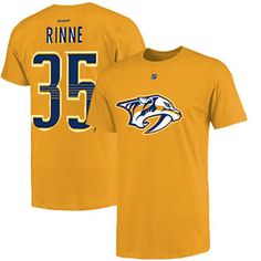 Mens Nashville Predators Pekka Rinne Reebok Gold Name & Number T-Shirt