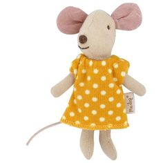 Set of a lovely mouse doll and a matching match box filled with colorful bedding. The match box is decorated with whimsical illustration and made with sturdy ca