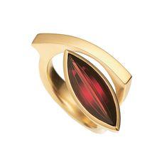 Angela Hubel - Gold Navette Garnet Ring - ORRO Contemporary Jewellery Glasgow - www.orro.co.uk