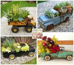 Não jogue fora os carrinhos de brinquedo que tu tiver use os para fazer uma linda decoração de jardinagem