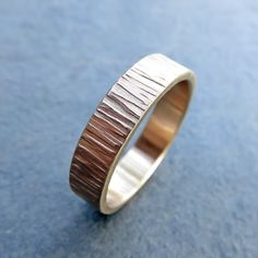 5mm Wide 14k Wood Grain Wedding Band for Men or by Brightsmith