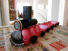 Recycled Train made from an egg carton