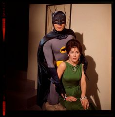 Vintage photo from the set of the Batman TV show from the 1960s.