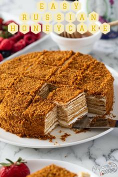Sheet Cake Recipes, Easy Cake Recipes, Sweet Recipes, Dessert Recipes, Honey Cake Recipe Easy, Just Desserts, Delicious Desserts, Russian Honey Cake, Chocolate Eclair Cake
