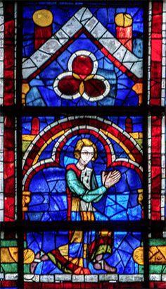 Verrière haute 120 - lancette gauche - Prophète inconnu - Donateur -Pierre Mauclerc Medieval Stained Glass, Grisaille, Gauche, Middle Ages, Mosaic Glass, Surrealism, Gothic, French, Windows