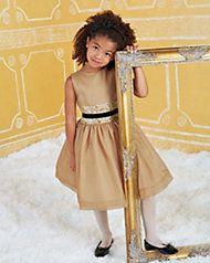 girls rosette waist gold party dress