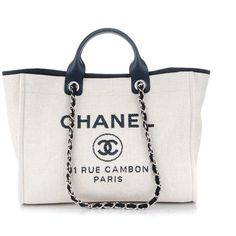 e5d92d774298 CHANEL Canvas Large Deauville Tote White Navy ❤ liked on Polyvore featuring  bags