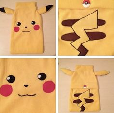 pikachu pokemon lined fleece applique custom by bybumbleandrose, £18.00