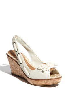 Someone tell me I'm taking this nautical theme too far... Sperry Top Sider slingback wedges to wear with me wedding dress... i think so.