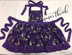 Nightmare Before Xmas ruffle skirt apron with swirling bats trim. Fully lined. All aprons fit sizes allowing for years of play and fun in the kitchen! Tie straps at neck and waist. Ruffle Apron, Ruffle Skirt, Christmas Aprons, Xmas, Little Mermaid Dresses, Cute Aprons, Glitter Dress, Nightmare Before Christmas, Cotton Fabric