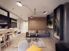 Moderno en Varsovia - salón cocina
