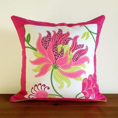 Reversible Pink and Purple Floral Print Pillows, with Lime Green Burlap and Hot Pink Linen, 16x16, Limited Edition