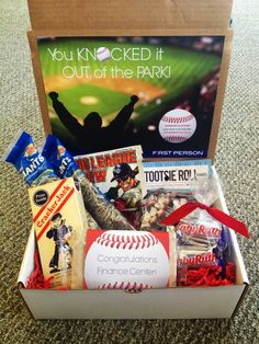 """""""You Knocked it Out of the Park!"""" baseball themed gift box (cracker jacks, sunflower seeds, tootsie rolls, popcorn, Baby Ruth, and Big League Chew)."""