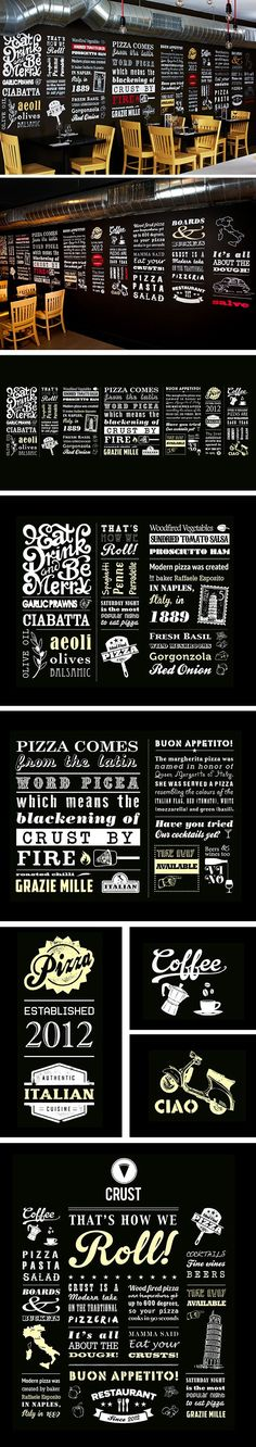 I Love Crust - Hand rendered typographic wall mural on Behance Pizzeria Design, Logo Pizzeria, Pizza Restaurant, Restaurant Branding, Decoration Restaurant, Restaurant Interior Design, Cafe Interior, Menu Design, Cafe Design