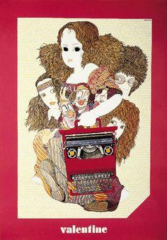 Poster pubblicitario eseguito nel 1969 da Yoshitaro Isaka per la Valentine, macchina per scrivere portatile Olivetti