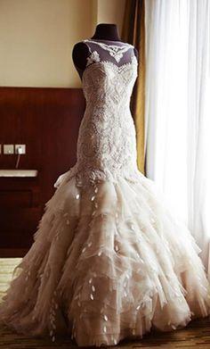 Gorgeous Veluz Reyes Bridal Gown with Illusion Neckline