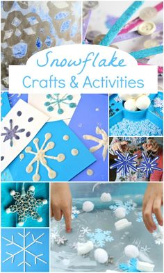 Winter Snowflake Crafts and Activities - Fantastic Fun & Learning - - Welcome winter with these creative snowflake crafts and activities for kids. Snow Activities, Winter Activities For Kids, Winter Crafts For Kids, Winter Kids, Preschool Winter, Reading Activities, Indoor Activities, Christmas Activities, Infant Activities