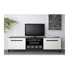 BESTÅ Tv-meubel met lades - zwartbruin/Marviken wit, laderail, zachtsluitend - IKEA