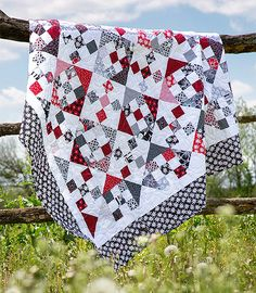 "Nine Patch and Hourglass Quilt Pattern free pattern using 10"" square pack."