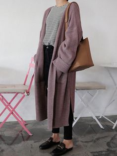 New Purple Pockets V-Ausschnitt Langarm Oversized Casual Cardigan Sweater - cardigan Casual Skirt Outfits, Mode Outfits, Fashion Outfits, Fashion Hair, Sweater Fashion, Fashion Tips, Hijab Fashion, Dress Outfits, Fall Outfits