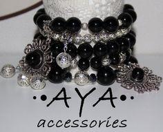 Agate bracelet Black bracelet Silver color bracelet от AYABRAND, $50.00