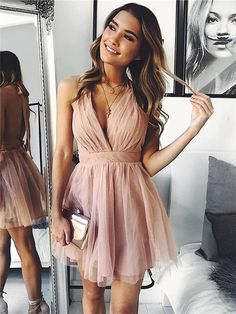 Buy Cute V Neck Above Knee Pink Ruffles Tulle Short Prom Dresses, Homecoming Dresses online. Rock one of the season's hottest looks in a burgundy homecoming dress or choose a timeless classic little black dress. Simple Dresses, Elegant Dresses, Pretty Dresses, Beautiful Dresses, Romantic Dresses, Hoco Dresses, Sexy Dresses, Wedding Dresses, Summer Dresses