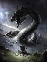This is a depiction of the great World serpent of Norse mythology that appears in a myth of Thor. Thor went to the sea-giant Hymir disguised as a youth and asked to go fishing. He then baited his hook with the head of a large ox and hooked the World serpent and attempted to pull it up. Hymir cut the line during the struggle and stopped Thor from killing it.
