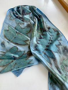 Blue Silk Scarf Eco Dyed & Printed, Indigo Dyed Eco-Printed Scarf, Blue Eco Printed Scarf, Natural Dyed Silk Scarf, Blue Eco-print Scarf by on Etsy Natural Dye Fabric, Textile Dyeing, Diy Scarf, Indigo Dye, How To Dye Fabric, Silk Painting, Printing On Fabric, Printed Silk Fabric, Silk Scarves