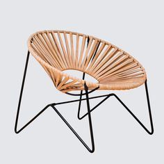 Leather Acapulco Chair - Black & Natural