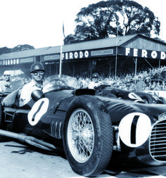 Juan Manuel Fangio, Racing at Goodwood with his monstruous BRM V16 P15, in 1953.
