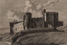 WALES/CASTLES: Mannorbeer Castle, Pembrokeshire ; Antique 18th century copperplate print, 1776; approximate size 10.0 x 15.0cm, 4 x 5.75 inches