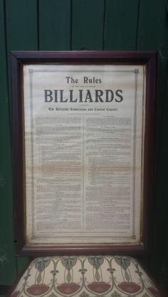 1920'S Framed Billiards Rules.B672 | Browns Antiques Billiards and Interiors.