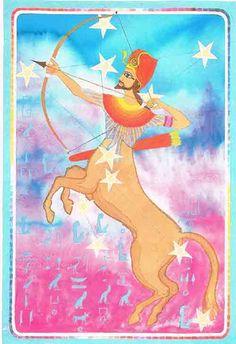 Sagittarius – An Egyptian Zodiac (From 15e Dynasty revisited)  Datum : 22 november – 23 december  Design: Kantaro, mixed media on paper , 42 x 60 cm, 1992 Postkaart www.postersquare.com