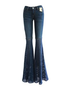 Made to Order Crochet Bell Bottom Jeans in Indigo Handmade by onceoverTWICE