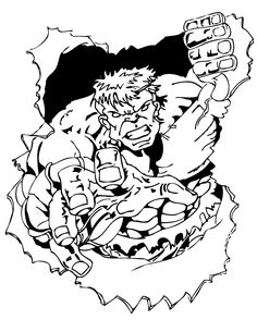 Hulk Breaking Through Paper Coloring Pages Printable And Book To Print For Free Find More Online Kids Adults Of