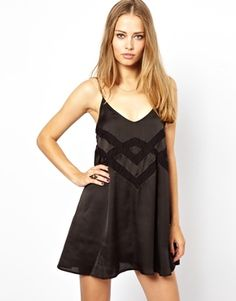 Jarlo Cami Swing Slip Dress with Lace Insert