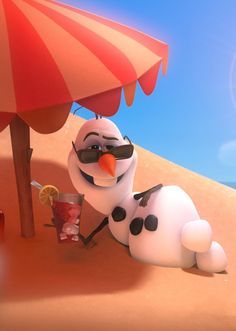 Image result for olaf getting a suntan